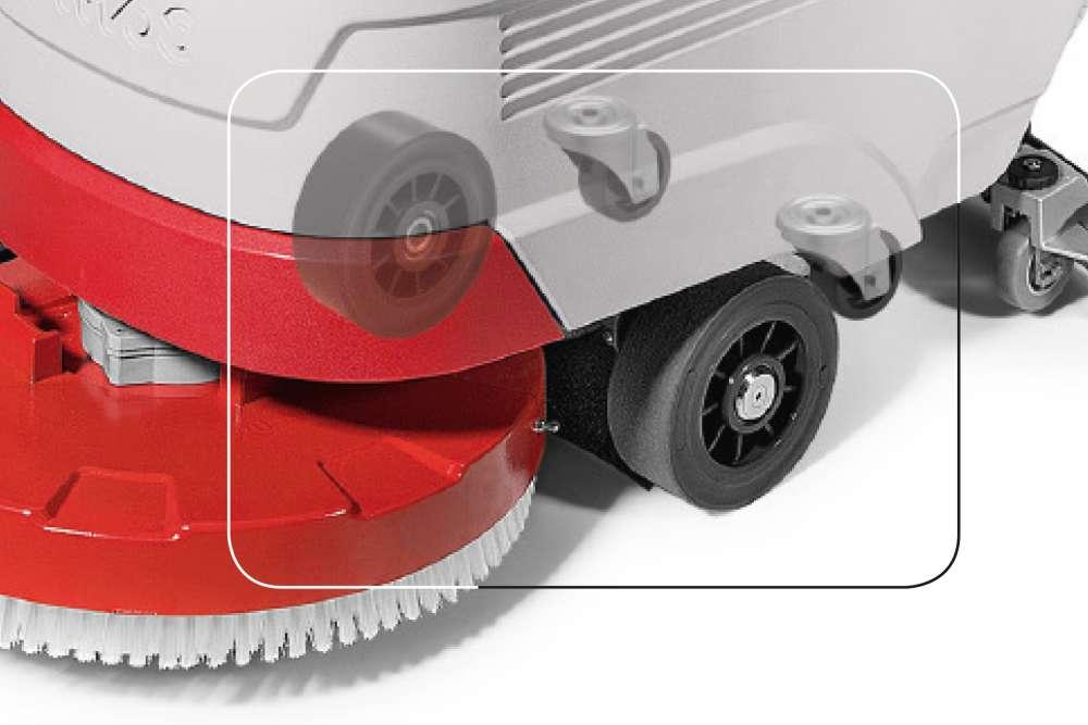 maszyna czyszcząca z systemem czterech kół nie zostawiających śladów