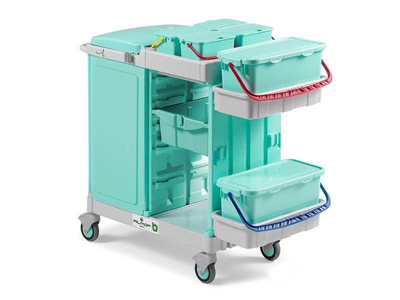 profesjonalny  wózek systemowy filmop do szpitali z zamknięciem na worek