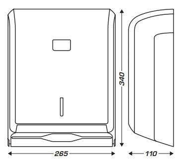 wymiary dozownika do ręcznika papierowego typu zz na listki