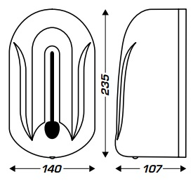wymiary dozownika automatycznego do mydła w płynie