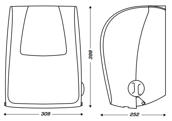 wymiary dozownika na rolkę ręcznika z automatycznym odcinaniem