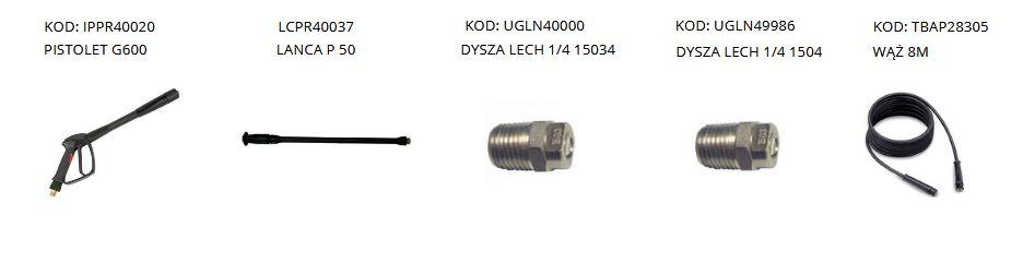 standardowe akcesoria do myjek wysokociśnieniowych