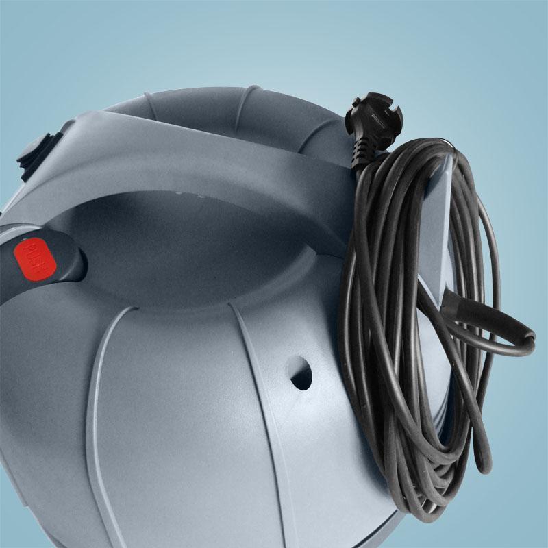 specjalny hak do kabla i przycisk do otrząsacza
