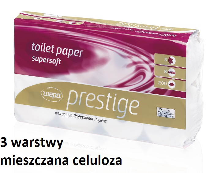 prestige wepa mały papier toaletowy z celulozy trzywarstwowy