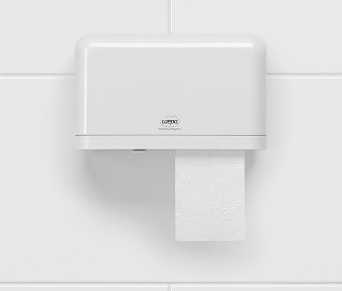 mały dozownik wepa na dwie małe rolki papieru toaletowego