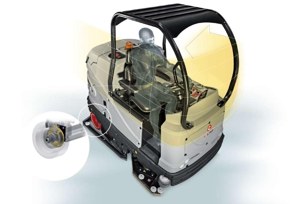 maszyna do mycia podłóg wyposażona w dach