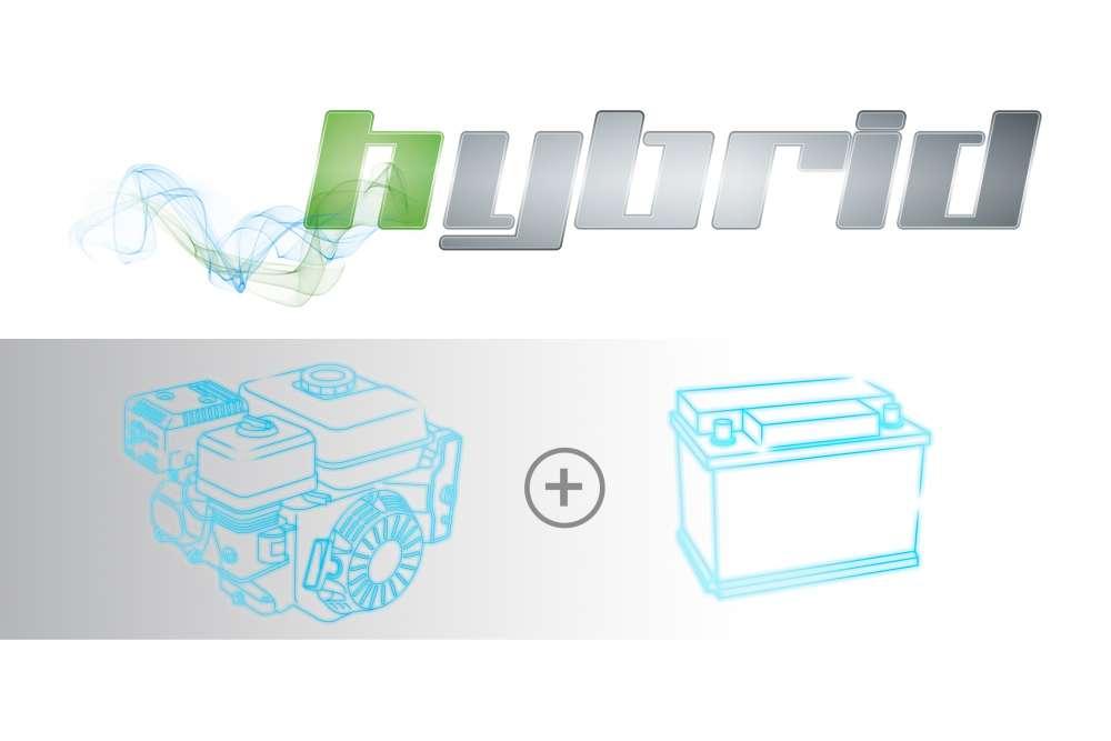 technologia hybrydowa łącząca silnik spalinowy z bateriami